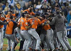 November 1, 2017 - Los Angeles, California, U.S. - The Houston Astros celebrate after they defeated the Los Angeles Dodgers 5-1 to win game 7 of the World Series at Dodger Stadium in Los Angeles. (Credit Image: © John Mccopy/Los Angeles Daily News via ZUMA Wire)