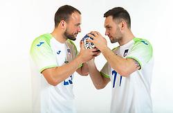 Uros Zorman and Luka Zvizej, former handball players of Slovenia posing for commercial of Rokometna simfonija 2019, on April 14, 2019, in Zrece, Slovenia. Photo by Vid Ponikvar / Sportida