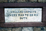 "Nelson's famous dictum ""England expects every man to do his duty"" inscribed on a memorial in Portsmouth"