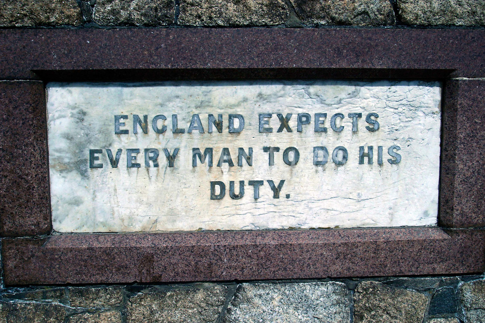 """Nelson's famous dictum """"England expects every man to do his duty"""" inscribed on a memorial in Portsmouth"""