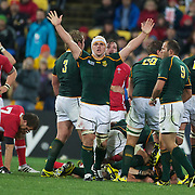 Heartbreak for Wales and joy for South Africa as the final whistle sounds giving South Africa a 17-16 victory during the Wales V South Africa, Pool D match during the Rugby World Cup in Wellington, New Zealand,. 11th September 2011. Photo Tim Clayton