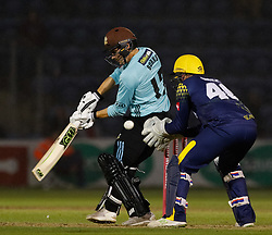 Surrey's Rory Burns misses the ball<br /> <br /> Photographer Simon King/Replay Images<br /> <br /> Vitality Blast T20 - Round 14 - Glamorgan v Surrey - Friday 17th August 2018 - Sophia Gardens - Cardiff<br /> <br /> World Copyright © Replay Images . All rights reserved. info@replayimages.co.uk - http://replayimages.co.uk