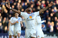 Jermain Defoe of Sunderland celebrates after scoring his teams 3rd goal. Premier League match, Crystal Palace v Sunderland at Selhurst Park in London on Saturday 4th February 2017. pic by Steffan Bowen, Andrew Orchard sports photography.