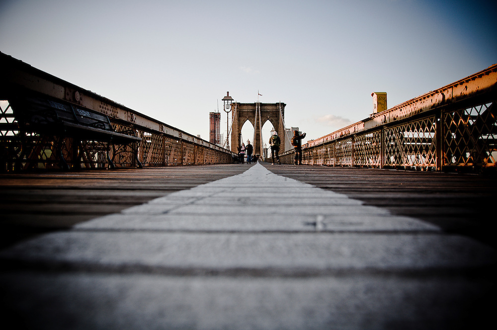 White line separating the pedestrians and the bikers on the Brooklyn Bridge, New York, 2009.