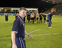 Photo: Tony Oudot.<br /> Milton Keynes Dons v Shrewsbury Town. Coca Cola League 2. Play off Semi Final 2nd Leg. 18/05/2007.<br /> Shrewsbury manager Gary Peters celebrates with the fans after the game