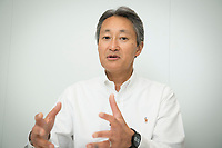 """01 SEP 2016, BERLIN/GERMANY:<br /> Kazuo """"Kaz"""" Hirai, President and CEO Sony Corporation, during an Interview, Sony booth, Internationale Funkausstellung IFA, Messe Berlin<br /> IMAGE: 20160901-01-005<br /> KEYWORDS: Kaz Hirai"""