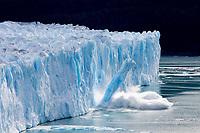 A column of calving ice crashes into Lago Argentino, Perito Moreno Glacier, Los Glaciares National Park, Argentina