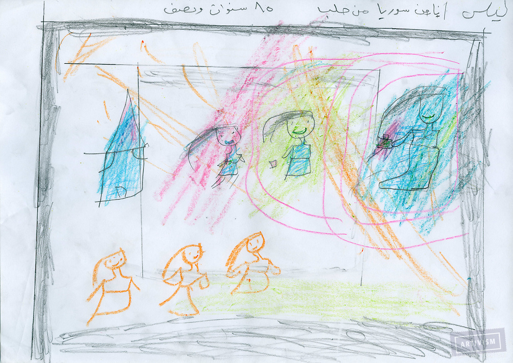 Leyla (girl) / 10 / Aleppo<br /> (She first told that she wants to draw a poor girl...then she painted a girl stealing, and other throwing carbage, and the others scrimmaging)