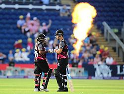 Mahela Jayawardene  and Jim Allenby of Somerset touch gloves. - Mandatory by-line: Alex Davidson/JMP - 22/07/2016 - CRICKET - Th SSE Swalec Stadium - Cardiff, United Kingdom - Glamorgan v Somerset - NatWest T20 Blast