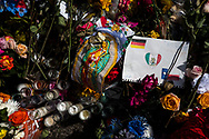 """A memorial near the site of the Aug. 3 mass shooting in El Paso, Texas, Wednesday, August 7, 2019.<br /> <br /> The shooting claimed the lives of 23 people, among them were 14 Americans, eight Mexican nationals and one German citizen. According to police, when the suspected shooter surrendered, he confessed to carrying out the attack and told them he was targeting """"Mexicans."""" The suspect is also believed to have posted a 2,356-word manifesto targeting immigrants on the online message board 8chan."""