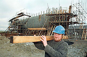 JEANNIE JOHNSTON SHIP-TRALEE.Ship-wright foreman Ciaran O'Regan carrying some oak wood which is being used in the construction of The Jeanie Johnston ship  at Blennerville, Tralee, Co. Kerry ..Picture by Don MacMonagle