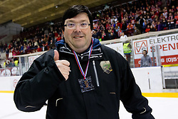 Tomaz Langerholz, PR of HDD Tilia Olimpija, with medal after ice-hockey match between HK Acroni Jesenice and HDD Tilia Olimpija in fourth game of Final at Slovenian National League, on April 2, 2012 at Dvorana Podmezaklja, Jesenice, Slovenia. HDD Tilia Olimpija won 5:2 and become national champions in season 2011/12. (Photo By Matic Klansek Velej / Sportida.com)