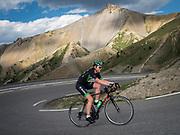 Bernard Hinault coach des cyclistes du team SKODA  amateur  pour participer a l'étape du tour quelques jours avant le tours de France 2017<br /> Montée du col d'izoard en contre la montre