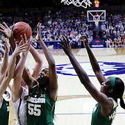STORRS, CONNECTICUT- NOVEMBER 17: Natalie Butler #51 of the UConn Huskies challenges for a rebound with Kristy Wallace #4, Khadijiah Cave #55 and Beatrice Mompremier #32 of the Baylor Bears during the UConn Huskies Vs Baylor Bears NCAA Women's Basketball game at Gampel Pavilion, on November 17th, 2016 in Storrs, Connecticut. (Photo by Tim Clayton/Corbis via Getty Images)
