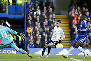 Kevin Mirallas of Everton 'scores' a goal which was ruled offside. Barclays Premier league match, Chelsea v Everton at Stamford Bridge in London on Saturday 16th January 2016.<br /> pic by John Patrick Fletcher, Andrew Orchard sports photography.