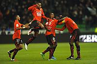 FOOTBALL - FRENCH CHAMPIONSHIP 2010/2011 - L1 - STADE RENNAIS v AC ARLES - 15/01/2011 - PHOTO PASCAL ALLEE / DPPI - JOY RENNES AFTER ALEXANDER TETTEY'S  GOAL(RENNES)