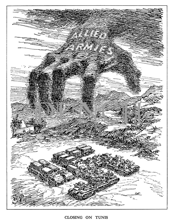 Closing on Tunis. (The hand of the Allied Armies reaches to destroy the Nazi army in the shape of a Swastika)