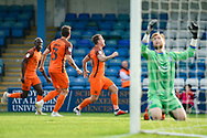 Southend United forward Simon Cox  (10) (right) scores a goal (0-1) and celebrates during the EFL Sky Bet League 1 match between Gillingham and Southend United at the MEMS Priestfield Stadium, Gillingham, England on 13 October 2018.