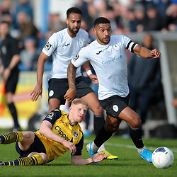 TELFORD COPYRIGHT MIKE SHERIDAN Ellis Deeney of Telford heads past Gabriel Johnson during the Vanarama National League Conference North fixture between AFC Telford United and Guiseley on Saturday, October 19, 2019.<br /> <br /> Picture credit: Mike Sheridan/Ultrapress<br /> <br /> MS201920-026