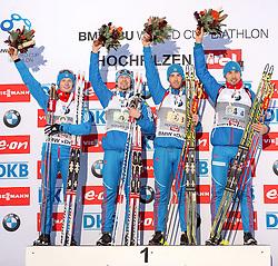 13.12.2014, Biathlonarena, Hochfilzen, AUT, E. ON IBU Weltcup, Staffel, Herren, im Bild Podium v.l.: Siegerteam Russland: Maxim Tsvetkov (RUS), Timofey Lapshin (RUS), Dmitry Malyshko (RUS), Anton Shipulin (RUS) // during Mens Relay of E. ON IBU Biathlon World Cup at the Biathlonstadium in Hochfilzen, Austria on 2014/12/13. EXPA Pictures © 2014, PhotoCredit: EXPA/ JFK