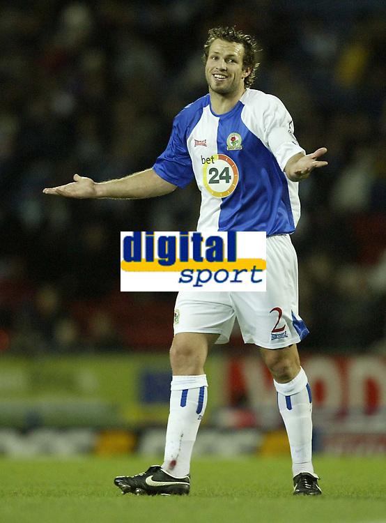 Photo: Aidan Ellis.<br /> Blackburn Rovers v AS Nancy. UEFA Cup. 13/12/2006.<br /> Rovers Lucas Neill asks some questions