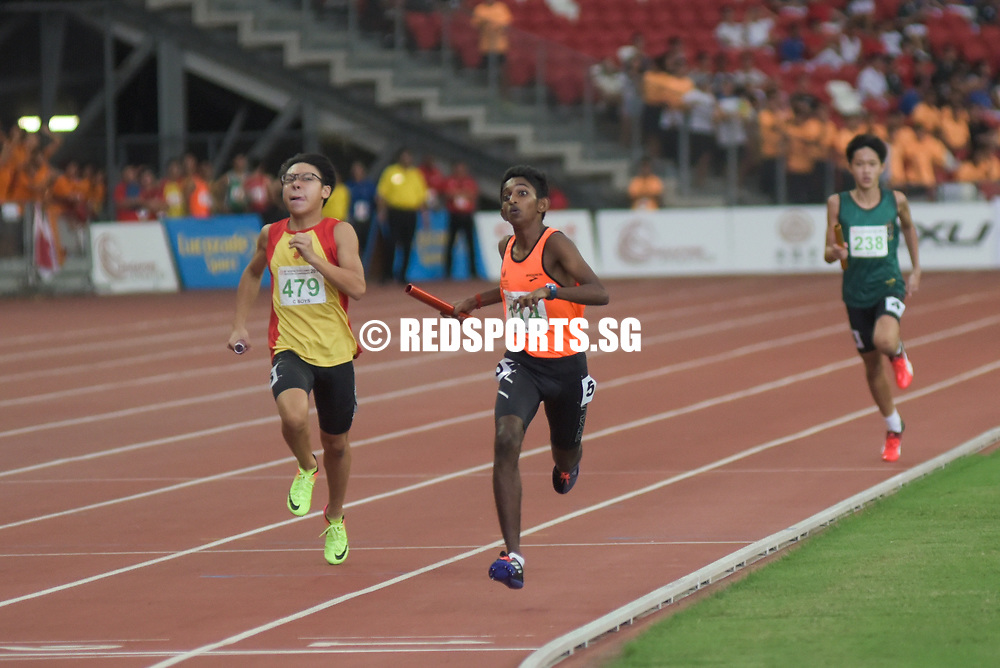 Singapore Sports School won gold in 3 minutes 47.35 seconds. Hwa Chong Institution was second in 03:48.03 while Raffles Institution was third in 03:50.36. Story: https://www.redsports.sg/2017/05/01/b-c-div-relays-nanyang-girls-sports-school/