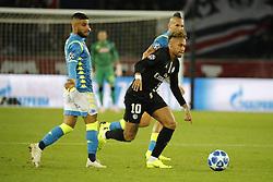 PSG's Neymar battling Napoli's Lorenzo Insigne during the Group stage of the Champion's League, Paris-St-Germain vs Napoli in Parc des Princes, Paris, France, on October 24th, 2018. PSG and Napoli drew 2-2. Photo by Henri Szwarc/ABACAPRESS.COM