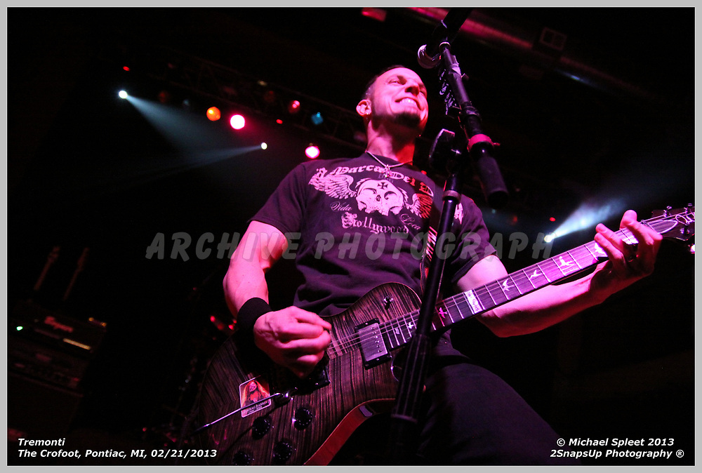 PONTIAC, MI, THURSDAY, FEB. 21, 2013: Tremonti, Mark Tremonti at The Crofoot, Pontiac, MI, 02/21/2013.  (Image Credit: Michael Spleet / 2SnapsUp Photography)