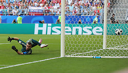 SAMARA, June 25, 2018  Russia's goalkeeper Igor Akinfeev misses a goal of Uruguay's Luis Suarez during the 2018 FIFA World Cup Group A match between Uruguay and Russia in Samara, Russia, June 25, 2018. (Credit Image: © Bai Xueqi/Xinhua via ZUMA Wire)