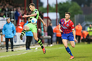 Forest Green Rovers Christian Doidge(9) crosses the ball during the Vanarama National League first leg play off match between Dagenham and Redbridge and Forest Green Rovers at the London Borough of Barking and Dagenham Stadium, London, England on 4 May 2017. Photo by Shane Healey.