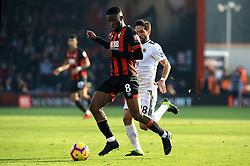 Bournemouth's Jefferson Lerma (left) and Wolverhampton Wanderers' Joao Moutinho (right) battle for the ball