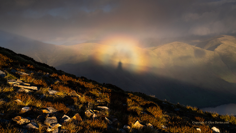 What a fabulous example of a Brocken Spectre this evening, beamed onto the gorgeously curved foothills of Yr Wyddfa (Snowdon) - I thought I was totally alone on the mountain but clearly I was not :-)