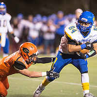 Junior Noah Gurule, carries the ball  for Bloomfield Bobcats against the Gallup Bengals, Friday Oct. 19, 2018 in Gallup.