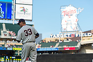 Justin Morneau #33 of the Minnesota Twins warms up before a game against the Chicago White Sox on June 19, 2013 at Target Field in Minneapolis, Minnesota.  The Twins defeated the White Sox 7 to 4.  Photo: Ben Krause