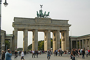Germany, Berlin The 'Quadriga' statue of the Goddess of Victory by Gottfried Schadow on top of the Brandenburg Gate,