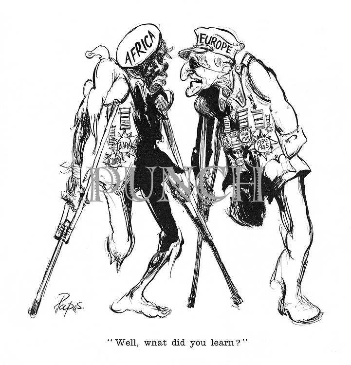 """""""Well, what did you learn?"""" (Two Old Men of Europe and Africa, both with medals but both missing legs and using crutches)"""