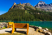 Benches at Lake O'hara, Yoho National Park, British Columbia, Canada