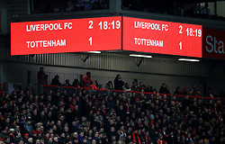 A general view of the score board during the Premier League match at Anfield, Liverpool.