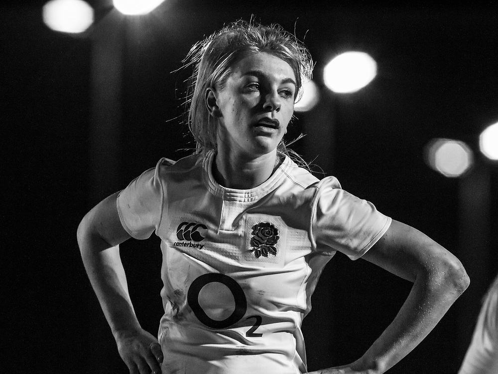 Anna Wolf during a break in play, Army Women v U20 England Women at the Army Rugby Stadium, Aldershot, England, on 16th February 2017. Final score 15-38.