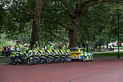 Traffic police on a break nearby St James' Park in central London on Sunday, Aug 22, 2021. Police are seen barricading King Charles Street outside the Foreign & Commonwealth Office ahead of the Extinction Rebellion weeks of Climate Protests to start on Monday. (VX Photo/ Vudi Xhymshiti)