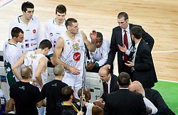 Vlado Ilievski (6) of Olimpija, Goran Jagodnik (12) of Olimpija, Head coach of Olimpija Jure Zdovc, Assistant coach of Olimpija Jaka Daneu during basketball match between KK Union Olimpija (SLO) and CSKA Moscow (RUS) in Group D of Turkish Airlines Euroleague, on December 15, 2010 in SRC Stozice, Ljubljana, Slovenia. Olimpija defeated CSKA 81 - 72.  (Photo By Vid Ponikvar / Sportida.com)