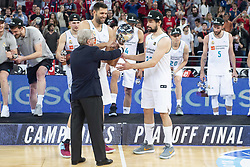June 19, 2018 - Vitoria, Spain - Real Madrid Felipe Reyes and Sergio Llull celebrating the championship after Liga Endesa Finals match (4th game) between Kirolbet Baskonia and Real Madrid at Fernando Buesa Arena in Vitoria, Spain. June 19, 2018. (Credit Image: © Coolmedia/NurPhoto via ZUMA Press)