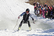 Warwick, NY - A skier successfully crosses the water at the end of a run during the Spring Rally at Mount Peter in Warwick on March 29, 2008.