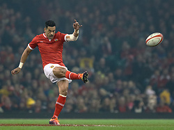 Kurt Morath of Tonga restarts the game<br /> <br /> Photographer Simon King/Replay Images<br /> <br /> Under Armour Series - Wales v Tonga - Saturday 17th November 2018 - Principality Stadium - Cardiff<br /> <br /> World Copyright © Replay Images . All rights reserved. info@replayimages.co.uk - http://replayimages.co.uk