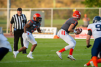 KELOWNA, BC - AUGUST 3:  Alex Douglas #1 looks to hand off the ball to Malcolm Miller #3 of Okanagan Sun against the Kamloops Broncos at the Apple Bowl on August 3, 2019 in Kelowna, Canada. (Photo by Marissa Baecker/Shoot the Breeze)