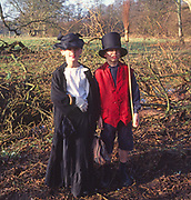 AREMME Primary school chidlren dressed in costumes for their Victorian day Suffolk England