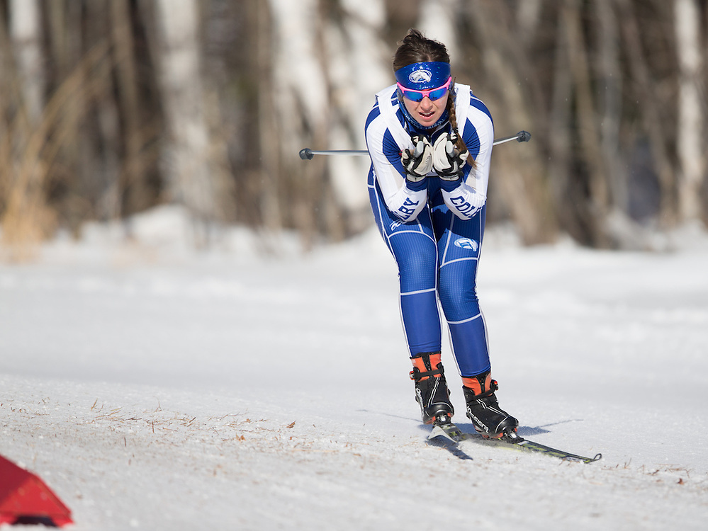 Amy Bianco skis during the Bates College Winter Carnival Women's 5k Freestyle at Black Mountain on January 17, 2015 in Rumford, ME. (Dustin Satloff/Colby College Athletics)