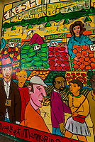 A colorful mural at the Pike Place Market, Seattle, Washington USA.
