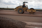 Construction crews at work building new runways at Holloman Air Force Base in Otero County. HAFB received over $21 million to upgrade various facilities as part of the Recovery and Reinvestment Act.