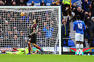 Romelu Lukaku of Everton (10) puts the ball into the back of the net to scores his teams 1st goal. Premier league match, Everton v Manchester City at Goodison Park in Liverpool, Merseyside on Sunday 15th January 2017.<br /> pic by Chris Stading, Andrew Orchard sports photography.